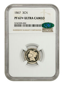 Click now to see the BUY IT NOW Price! 1867 3CN NGC/CAC PR 67  UCAM   3 CENT NICKEL   THE SOLE FINEST KNOWN
