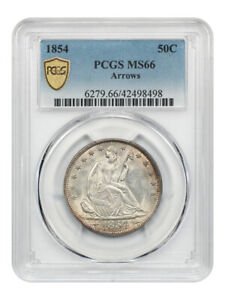 Click now to see the BUY IT NOW Price! 1854 50C PCGS MS66  ARROWS  LIBERTY SEATED HALF DOLLAR