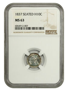 1837 H10C NGC MS63  NO STARS LARGE DATE  SEATED HALF DIME