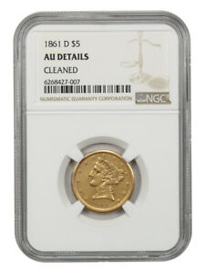 Click now to see the BUY IT NOW Price! 1861 D $5 NGC AU DETAILS  CLEANED  FINAL YEAR DAHLONEGA ISSUE