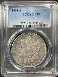 1901 S MORGAN DOLLAR PCGS XF45 LOTS OF LUSTER PRETTY SURFACE