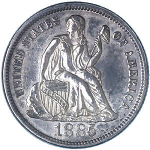 1885 SEATED LIBERTY DIME 90  SILVER UNCIRCULATED  SEE PICS K711