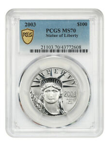 Click now to see the BUY IT NOW Price! 2003 PLATINUM EAGLE $100 PCGS MS70   STATUE LIBERTY 1 OZ