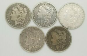 MORGAN SILVER DOLLARS 1878 1904 MIXED YEARS & MINTS PRE 21 G VF LOT OF 5 COINS
