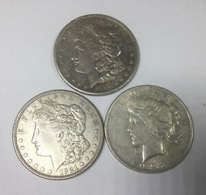 Click now to see the BUY IT NOW Price! 1890S 1921D & 1923 SILVER DOLLAR GROUP OF 3  DIFFERENT COINS CULL AND BETTER LOT