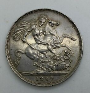 Click now to see the BUY IT NOW Price! GREAT BRITAIN 1889 VICTORIA JUBILEE CROWN NICE GRADE BUT SCRATCHES OBVERSE