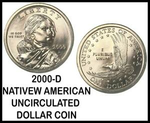 2000 D NATIVE AMERICAN SACAGAWEA $1 DOLLAR COIN UNCIRCULATED FROM OBW ROLL