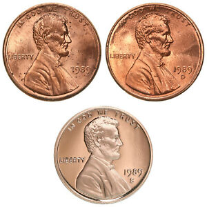 1989 P D S LINCOLN MEMORIAL CENT YEAR SET PROOF & BU 3 COIN LOT