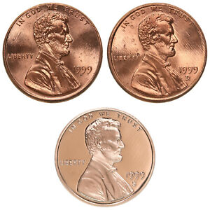 1999 P D S LINCOLN MEMORIAL CENT YEAR SET PROOF & BU US 3 COIN LOT