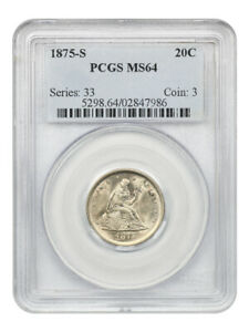 1875 S 20C PCGS MS64   POPULAR TYPE COIN   20 CENT PIECE   POPULAR TYPE COIN