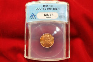 1995 DDO FS 040 DIE 1 LINCOLN CENT ANACS GRADED MS67 RED