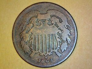 1864 2 CENT ROTATED REVERSE ERROR 120 DEGREES NICE COIN FOR COLLECTION 116