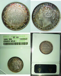 Click now to see the BUY IT NOW Price! 1894  CANADA 20 CENTS NEWFOUNDLAND ANACS EF 40 GOLDEN TONED