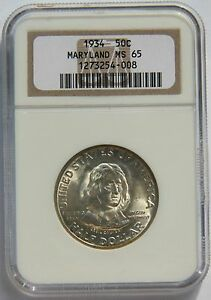 Click now to see the BUY IT NOW Price! 50 MARYLAND 1934 NGC MS65 SILVER COMMEMORATIVE