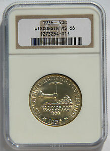Click now to see the BUY IT NOW Price! 50 WISCONSIN1936 NGC MS66 SILVER COMMEMORATIVE