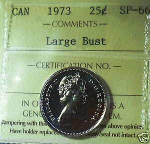 Click now to see the BUY IT NOW Price! LARGE BUST  CANADA 1973 TWENTY FIVE CENTS  ICCS CERTIFIED SP 66
