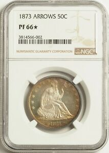 Click now to see the BUY IT NOW Price! 1873 50C ARROWS NGC PF66  STAR    CONDITIONALLY  ONE SIDED CAMEO