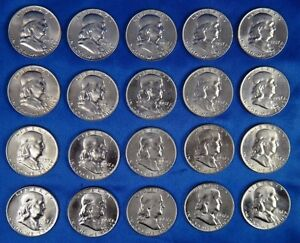 Click now to see the BUY IT NOW Price! 1957 D 50C FRANKLIN SILVER HALF DOLLAR FBL BU UNC LOT OF 20