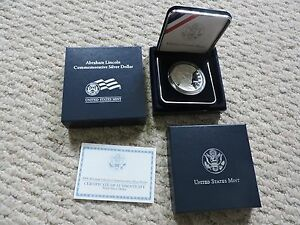 ABRAHAM LINCOLN COMMEMORATIVE PROOF SILVER DOLLAR  LN7  MINT CONDITION WITH COA