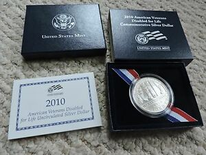 2010 DISABLED VETERANS UNCIRCULATED SILVER COMMEMORATIVE MINT WITH COA