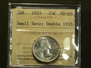 Click now to see the BUY IT NOW Price! 1953 CANADA 25 CENTS  ICCS MS 63   DOUBLED DATE VARIETY G3544