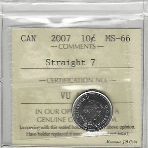 Click now to see the BUY IT NOW Price! 2007 STRAIGHT 7 CANADA TEN CENTS CERTIFIED BY ICCS MS 66  VU454