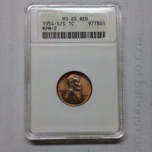 Click now to see the BUY IT NOW Price! 1954 S OVER S  MS65 RED PENNY ANACS CERT. 977801 RPM 2