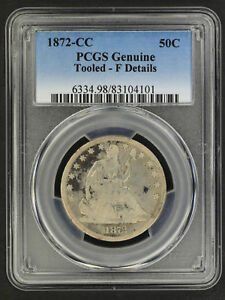 1872 CC SEATED LIBERTY SILVER HALF DOLLAR PCGS F DETAILS TOOLED  159123