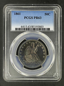 Click now to see the BUY IT NOW Price! 1861 SEATED LIBERTY HALF DOLLAR PCGS PR 63 TEXTILE RAINBOW TONING   163230