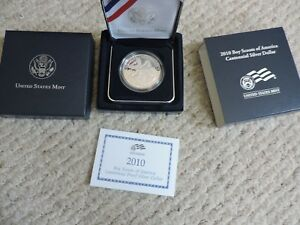 2010 P BOY SCOUTS OF AMERICA CENTENNIAL PROOF SILVER DOLLAR  BY1  US MINT MIB