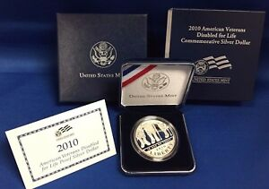 2010 AMERICAN VETERANS DISABLED FOR LIFE PROOF SILVER DOLLAR W/COA