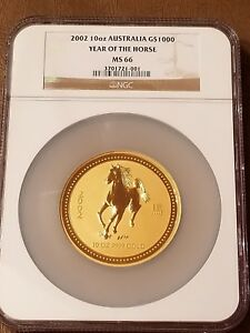 Click now to see the BUY IT NOW Price! 2002 AUSTRALIA 10 OZ GOLD COIN .9999 LUNAR YEAR OF HORSE G$1000 NGC MS 66