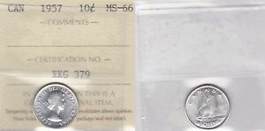 Click now to see the BUY IT NOW Price! 1957 ICCS MS66 10 CENTS CANADA TEN DIME SILVER