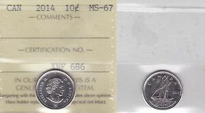 Click now to see the BUY IT NOW Price! 2014 ICCS MS67 10 CENTS CANADA  TEN DIME