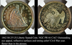 Click now to see the BUY IT NOW Price! 1862 US LIBERTY SEATED QUARTER   NEW NGC PROOF 66   CAC   WONDERFUL COLOR