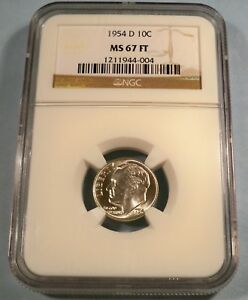 Click now to see the BUY IT NOW Price! 1954 D NGC MS67FT ROOSEVELT DIME 10C MS 67 FT FULL TORCH