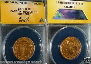 Click now to see the BUY IT NOW Price! 1876 H CANADA ONE CENT  ANACS AU58