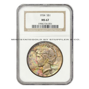 Click now to see the BUY IT NOW Price!  1934 $1 PEACE NGC MS67 UNCIRCULATED GEM GRADED PHILADELPHIA SILVER DOLLAR