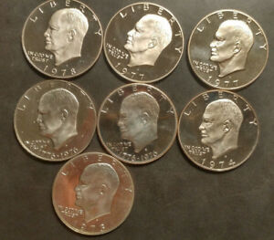 LOT OF 7   1973S 1978S   EXTRA 1977S EISENHOWER DOLLAR DCAM PROOF CLAD IKE UNC