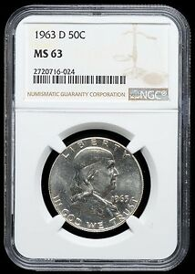 1963 D FRANKLIN HALF DOLLAR   MS 63 NGC   MINT STATE   654
