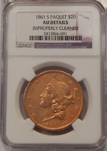 Click now to see the BUY IT NOW Price! 1861 S PAQUET $20 GOLD LIBERTY AU DETAILS CLEANED NGC DOUBLE EAGLE