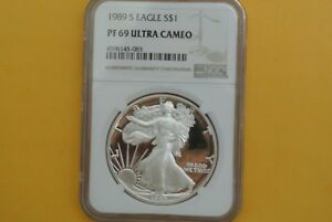 1989 S SILVER EAGLE PROOF NGC PF69