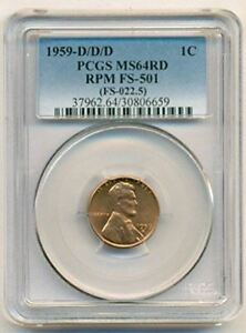 1959 D/D/D LINCOLN MEMORIAL CENT RPM VARIETY FS 501 MS64 RED PCGS