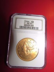 1899 NGC MS63 $20 LIBERTY HEAD DOUBLE EAGLE GOLD COIN 630309 005