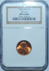 1984 NGC MS64RB FS 101 RED BROWN DOUBLED DIE OBVERSE DOUBLE EAR LINCOLN CENT