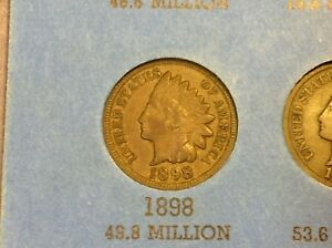 1898 INDIAN HEAD CENT PENNY VF FULL DATE & RIMS
