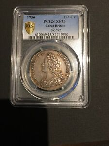 Click now to see the BUY IT NOW Price! GEORGIUS II GREAT BRITAIN   1/2 CROWN 1736  PCGS  VF35
