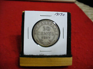 Click now to see the BUY IT NOW Price! 1917 C  CANADA  SILVER  HALF  DOLLAR  50 CENT PIECE   17  NEWFOUNDLAND  STERLING