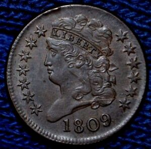 1809 HALF CENT  UNC DETAILS  150 DEGREE ROTATED DIE      OBV SCR  RIM HITS