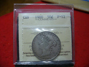 Click now to see the BUY IT NOW Price! 1900  CANADA  SILVER HALF DOLLAR  COIN  FIFTY CENT   I.C.C.S. GRADED  F 12